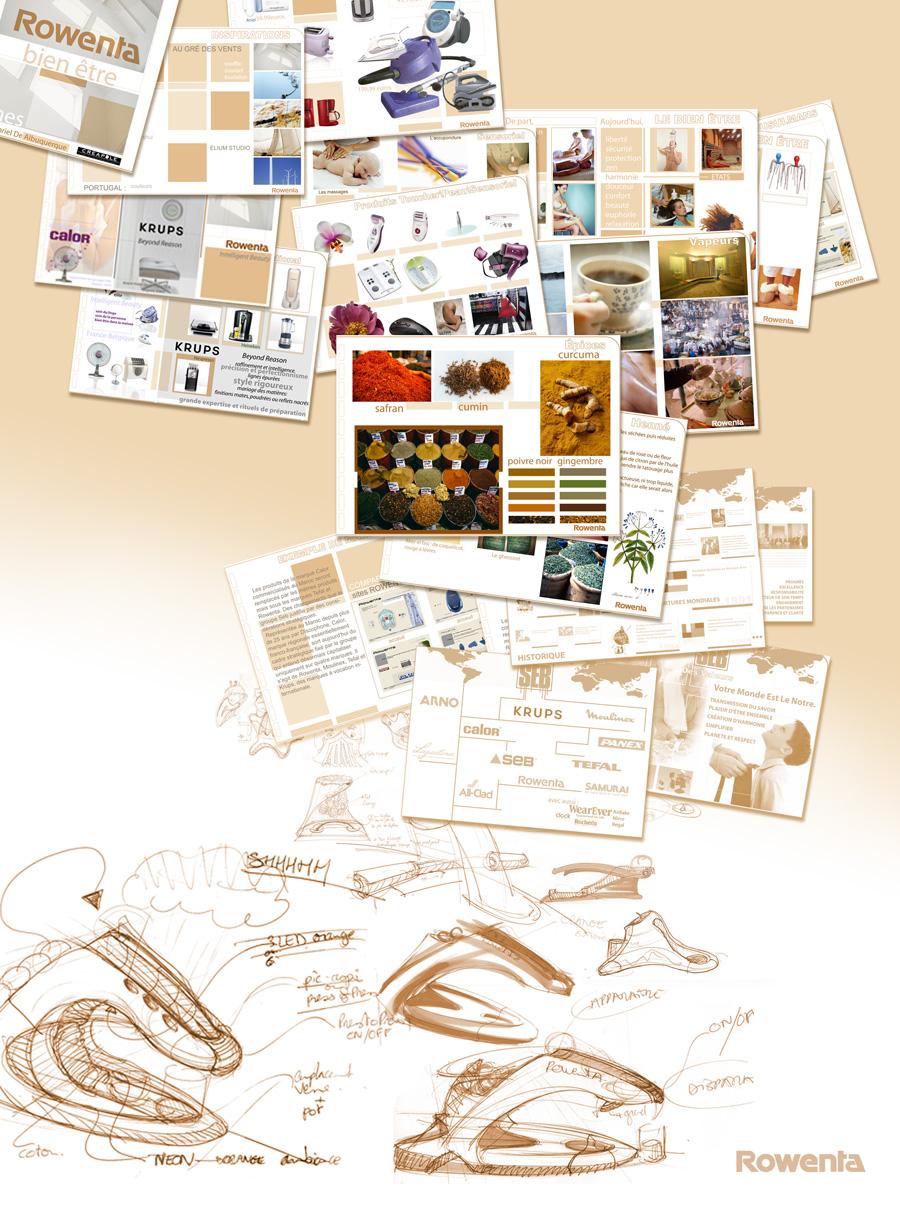Projet Rowenta recherches concept dessins et planches tendances. Designer sur Orléans