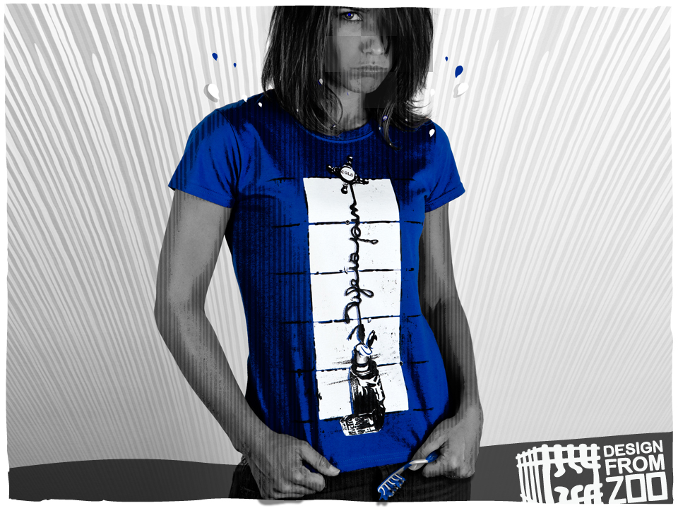T-shirt femme bleu design - direction artistique slap-design